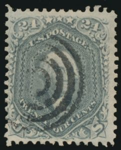 From Lot 452, USA 1861-66 part set on old time quadrille page, overall Fine