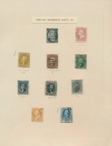 Lot 452, USA 1861-66 part set on old time quadrille page, overall Fine