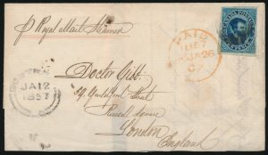 Lot 492, Canada 1857 ten cent blue Cartier imperf on cover, Montreal to London England
