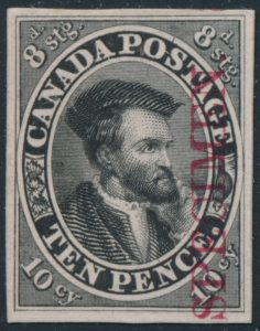 Lot 5, Canada ten pence Cartier trial colour plate proof in black with SPECIMEN overprint, sold for C$789