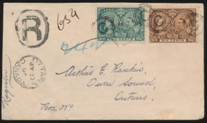Lot 582, Canada 1897 Jubilee registered cover Ottawa to Owen Sound, sold for C$819