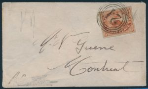 Lot 643, Canada group of Three Penny Beaver covers with 4-ring numeral cancels, sold for C$702