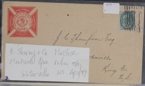 Lot 717, Extensive Montréal postal history collection, 1805 to mid-1970s, sold for C$1,462