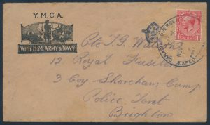 Lot 783, Canada 1914 Expeditionary Forces group of three covers with crown datestamp, sold for C$702