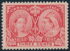 Lot 106, Canada 1897 three cent bright rose Jubilee, XF NH, sold for C$321
