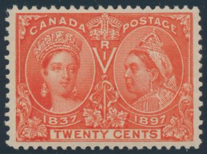 Lot 114, Canada 1897 twenty cent deep vermilion Jubilee, VF NH, sold for C$994