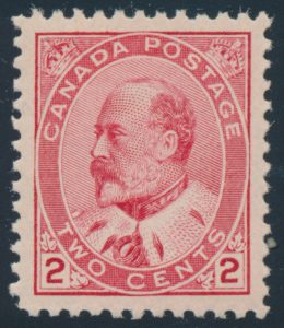 Lot 159, Canada 1903 two cent carmine King Edward VII VF NH, sold for C$351
