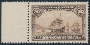 Lot 174, Canada 1908 twenty cent Brown Québec Tercentenary, XF NH, sold for C$1,111