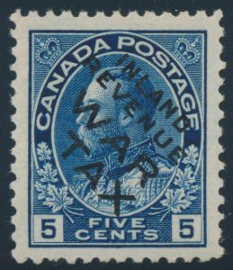 Lot 202, Canada 1915 five cent blue Admiral War Tax overprinted INLAND REVENUE, VF mint, sold for C$1,111