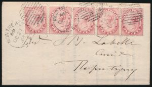 Lot 495, Canada 1865 printed circular mailed at the 5c Letter Rate, sold for C$438
