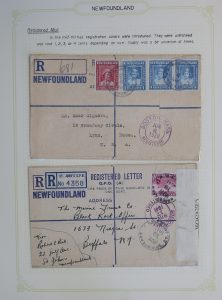 Lot 740, Newfoundland collection of interesting varied covers neatly written-up on pages, sold for C$555