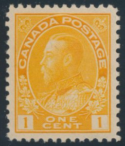 Lot 183, Canada 1922 one cent orange yellow Admiral, XF NH, sold for C$234