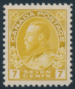 Lot 190, Canada 1916 seven cent yellow ochre Admiral, XF NH, sold for C$263
