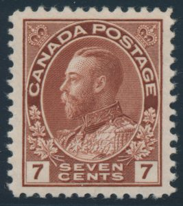 Lot 192, Canada 1924 seven cent pale red brown Admiral, VF NH, sold for C$351