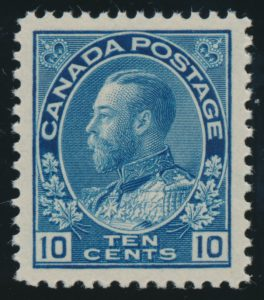 Lot 195, Canada 1922 ten cent blue Admiral, dry printing, NH XF, sold for C$292