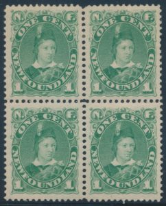Lot 343, Newfoundland Prince of Wales group in mint blocks with six distinct shades, sold for C$409