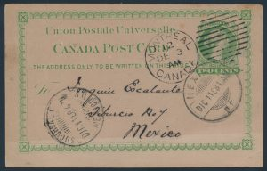 Lot 481, Canada 1888-1910 group of eight UPU stationery cards to different destinations, sold for C$614
