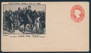Lot 489, Canada three cent Queen Victoria postal stationery envelope with Northwest Rebellion 1885 private print, along with related material, sold for C$409