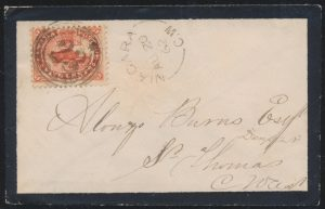 Lot 497, Canada 1862 five cent Beaver on Lady's Mourning Cover, Niagara C.W. to St. Thomas, sold for C$497
