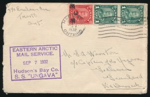 Lot 539, Canada 1932 incoming Eastern Arctic Patrol cover to the Captain of S.S. Ungava, sold for C$409