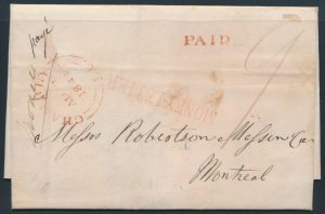 From Lot 548, Province of Québec 1843-1861 group of four stampless registered covers, sold for C$380