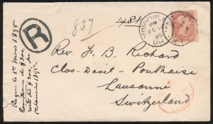 Lot 579, Canada 1895 ten cent UPU Registered cover Yorkville to Lausanne Switzerland, sold for C$672