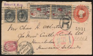 Lot 588, Canada 1899 Registered Map cover Montréal to Hawaii, sold for C$555