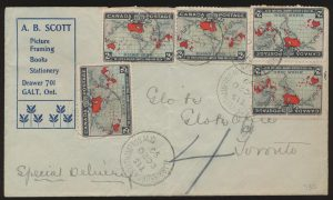 Lot 625, Canada 1899 two cent Map Special Delivery cover from Galt to Toronto, sold for C$438