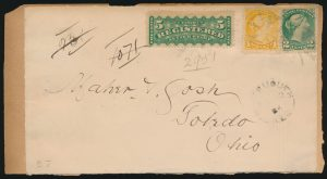 Lot 671, Canada 1884 Small Queen registered cover front, Whitemouth Keewatin to Toledo Ohio, sold for C$526