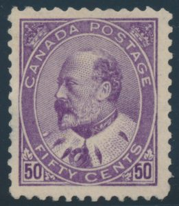 Lot 223, Canada 1908 fifty cent purple King Edward VII, VF NH
