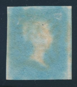 Back of Lot 621, Great Britain 1841 Two Penny Blue, VF with #3 Maltese Cross cancel in black