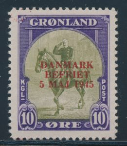 Lot 678, Greenland 1945 10o to 5k set of six with new overprint colours, VF mint