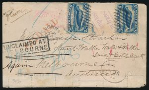Lot 932, Newfoundland1889 cover St. John's to Melbourne Australia through San Francisco