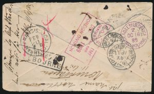 Reverse of Lot 932, Newfoundland1889 cover St. John's to Melbourne Australia through San Francisco